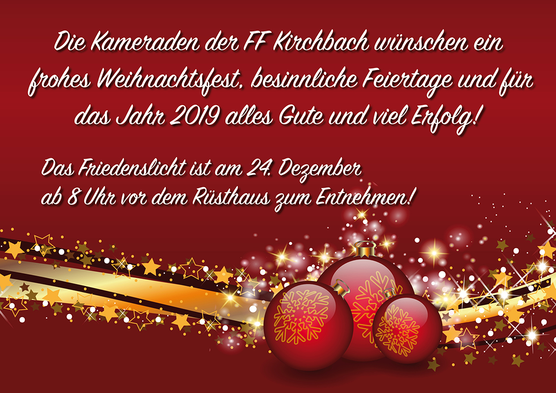 Frohe Weihnachten Besinnlich.Freiwillige Feuerwehr Kirchbach Frohe Weihnachten Und